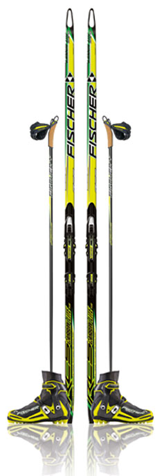 Fischer cross country skis and boots