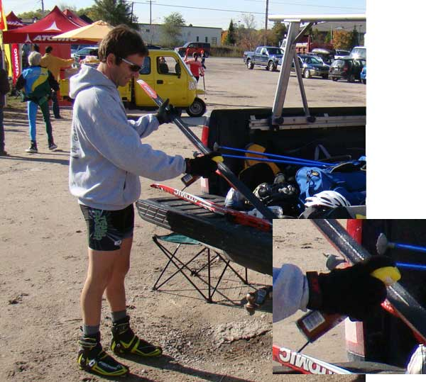 Glenn Goodman applies Lemon Pledge to his cross country ski racing skis