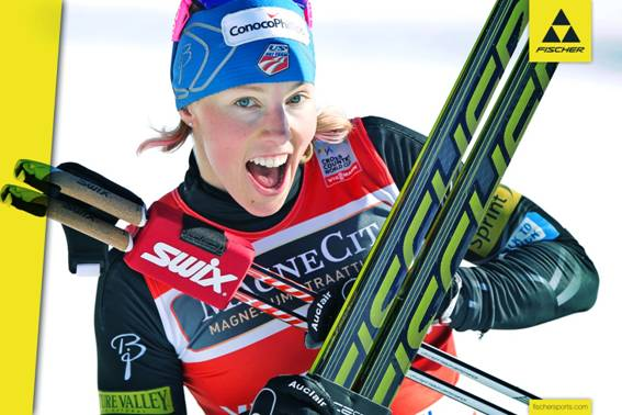 Kikkan Randall on Fischer cross country skis