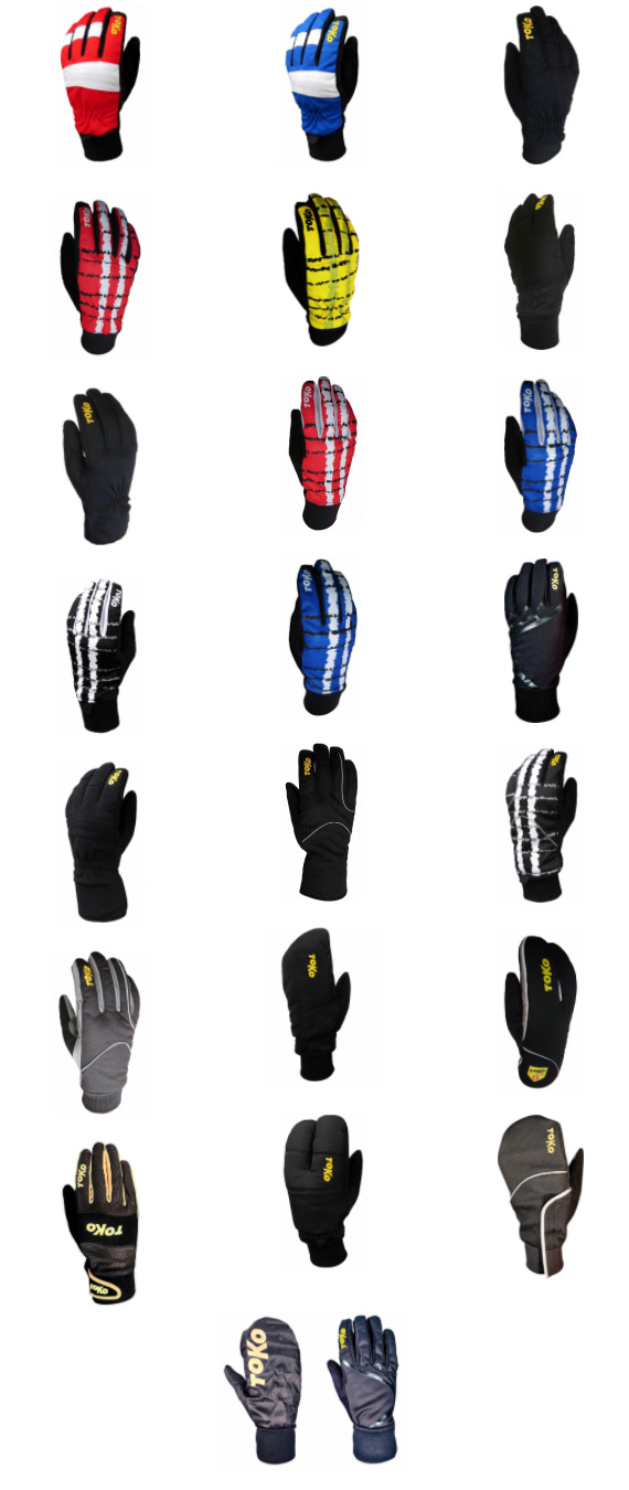 Toko winter cross country ski gloves in many colors