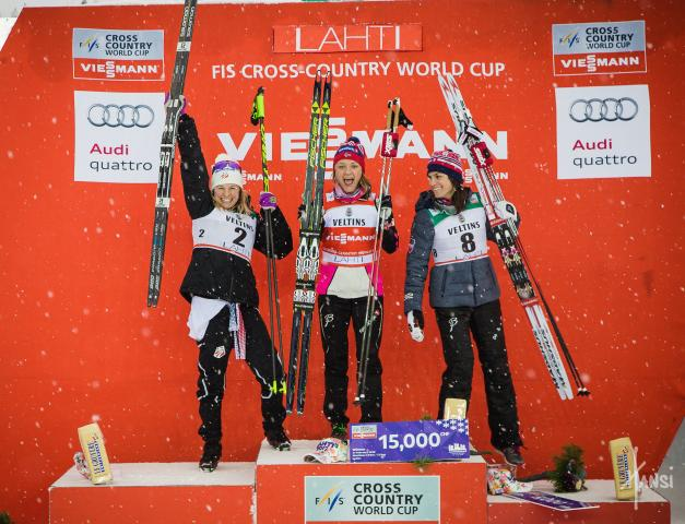 <p>Jessie Diggins stands on the podium. (Hansi Johnson)
