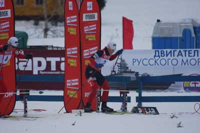 Kikkan Randall wins the cross country ski sprint event at the Wolrd Cup in Rybinsk, Russia