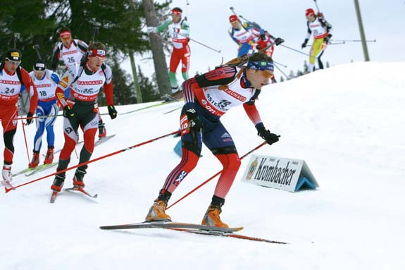 Tim Burke leads the field in the Mass Start competition at the 2008 Biathlon World Championships