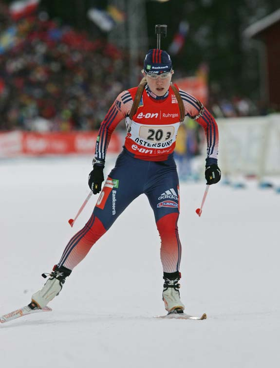 Haley Johnson in the Women's relay at the 2008 Biathlon World Championships