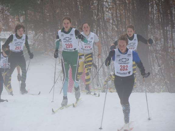 Top junior men and women at the Holiday classic cross country ski race