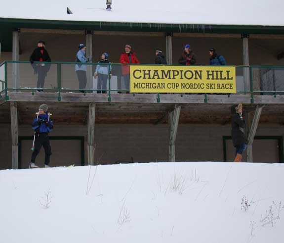 Spectators could watch the big downhill to the finish from the deck