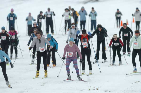start of the women's 15K wave at the Frosty Freestyle cross country ski race