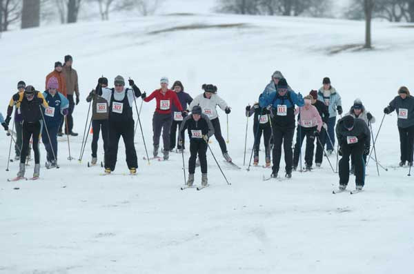 Start of the 5K wave of the Frosty Freestyle cross country ski racer