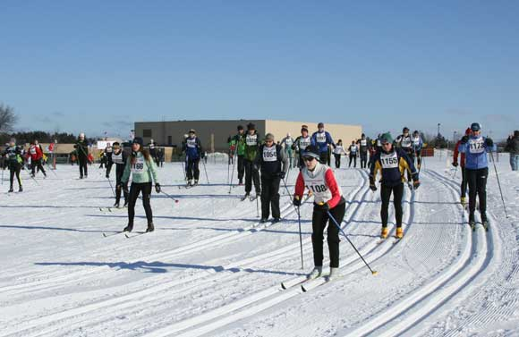 Start of the 20K White Pine Stampede cross country skiers