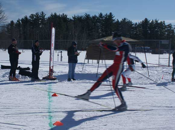 Tony Bozzio nips Dave Mcclean in the A Final of the Michigan Cup Sprints cross county ski race