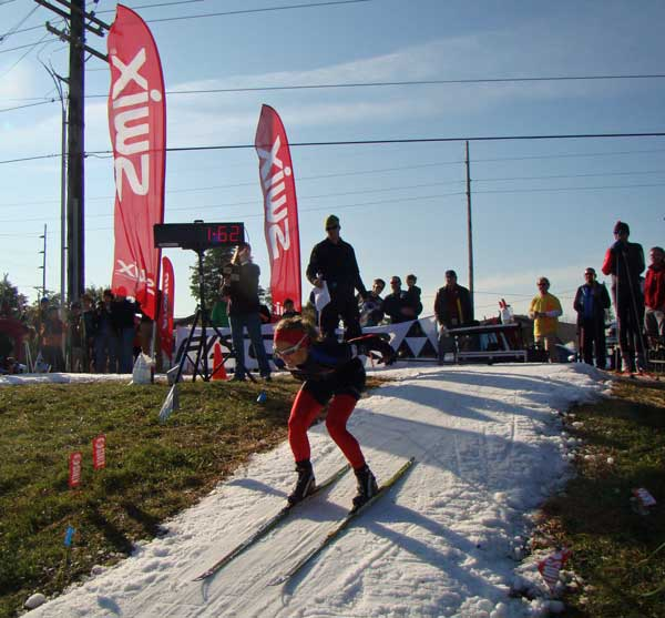 Amy Powell on the downhill at the Nordic Fest Season Operner cross country ski race