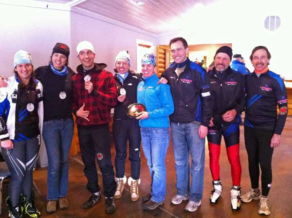 Vasa Ski Club members show off their medals from the Michigan Cup Sprints
