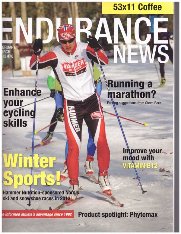 Christian Byar cross country ski racing in Hammer Nutrition racing suit