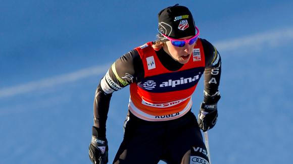 Kikkan Randall of the U.S. finished 12th in the World Cup skiathlon event Saturday in Lahti, Finland. She sits fourth in the World Cup standings and is shown here during competition in Rogla, Slovenia. (Getty Images/Agence Zoom - Stanko Gruden)
