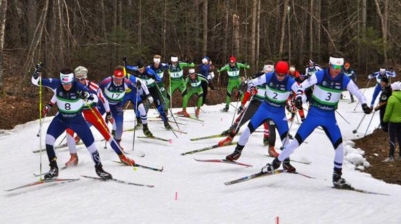 Big field jams onto the trail at the start as the U.S. Ski Team's Kris Freeman took a 15th career U.S. title winning the 50k mass start at Craftsbury.