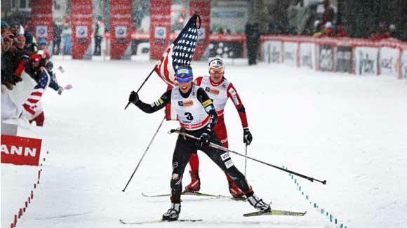 Kikkan Randall celebrates a weekend sweep, winning again in Quebec City. (Reese Brown)