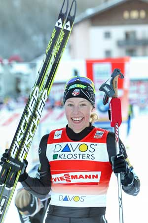 Fischer Ski Athlete Kikkan Randall makes history as the first American woman to win the Nordic Skiing World Cup Sprint