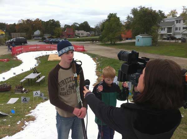 TV interview at last year's Ski Fest