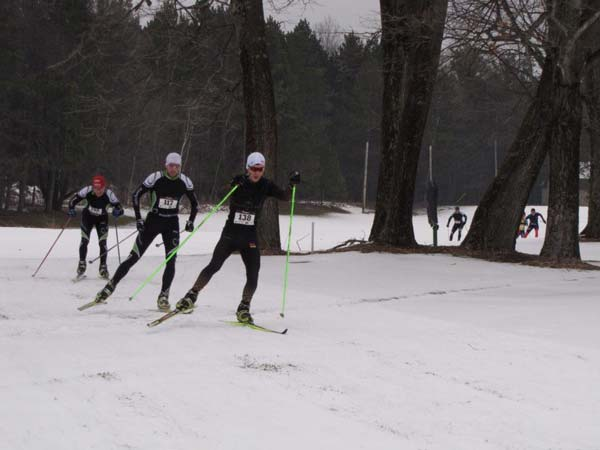 Alex Vanias, Daniel Yankus, and Milan Biac in the lead at the Wintersonnewende cross country ski race