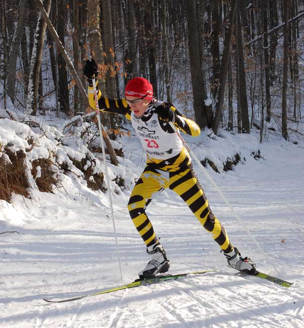 Andrew Bruning, a junior, duking it out with the seniors for an overall second place in the cross country ski race series