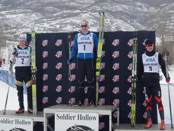 NMU's Kyle Bratrud (left) and Alaska's Logan Hanneman (center) stand on the podium after the 10K race