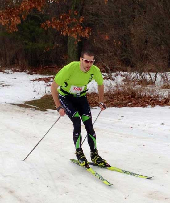 Dan Yankus on his way to a second place finish in the Frosty Freestyle cross country ski race