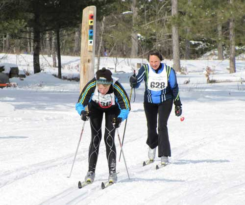 Racing to the finish of the Hanson Hills Classic cross country ski race