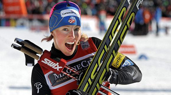 Kikkan Randall celebrates her win in Lahti and with it a second straight FIS Cross Country World Cup sprint title. (Getty Images/AFP-Markku Ulander)