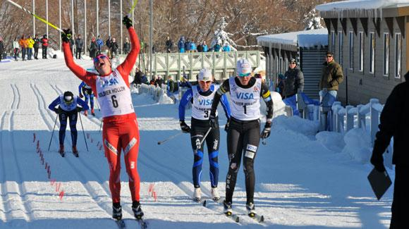 Torin Koos (Wenatchee, WA) of Northern Bridger Ski Foundation and Jennie Bender (Johnson, VT) of CXC Elite took classic sprint titles on opening day of the U.S. Cross Country Ski Championships on the Olympic trails at Soldier Hollow.