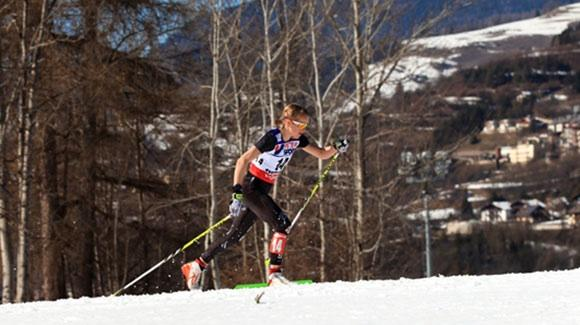 Liz Stephen (East Montpelier, VT) cruises through the warm weather to finish 16th in the 30k classic at the FIS Nordic World Ski Championships in Val di Fiemme. (U.S. Ski Team - Sarah Brunson)