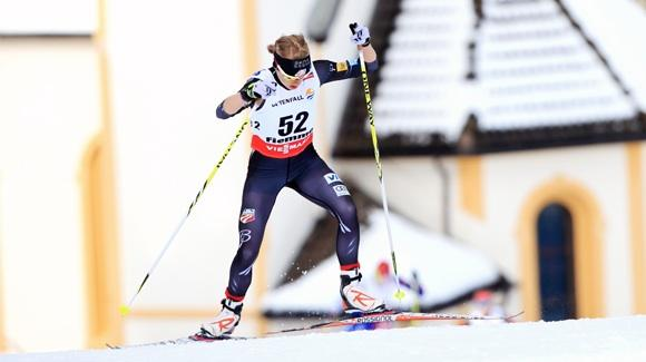 Liz Stephen powering into the top five in the 10k individual skate at the FIS World Nordic Ski Championships. (U.S. Ski Team - Sarah Brunson)