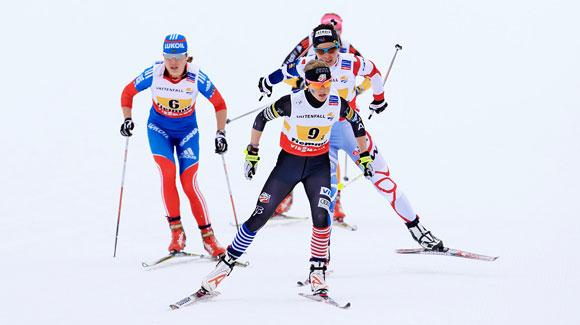Liz Stephen skied a strong first skate leg to set the USA up for an historic best ever fourth place finish in the women's relay at the FIS Nordic World Ski Championships. (U.S. Ski Team - Sarah Brunson)