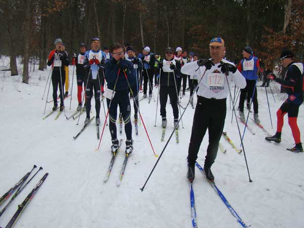 Start of the Michigan Cup Relays at the Cross Country Ski Headquarters in 2013