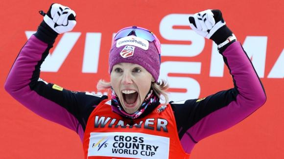 Kikkan Randall became the first American woman in history to break into the top three overall in the Cross Country World Cup on Sunday. (Getty Images/AFP/Jonathan Nackstrand)