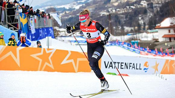 Sadie Bjornsen (shown here skiing at World Championships) raced to 18th in the 10k classic at Lahti for a career best distance finish. (U.S. Ski Team - Sarah Brunson)