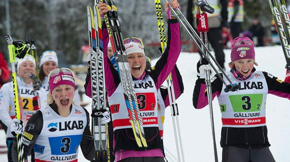 The U.S. Ski Team's women's relay team, shown here after an historic podium in Sweden earlier this season, is expected to challenge for a medal at the FIS Nordic Ski World Championships in Val di Fiemme. (Getty Images/AFP)