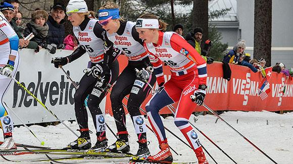 Sadie Bjornsen  teamed up with Kikkan Randall to finish fifth in the team sprint on Sunday.