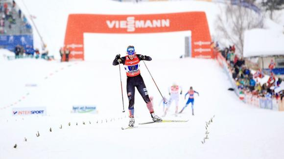 World Cup sprint champion Kikkan Randall, seen here at World Championships, skied into 18th place in the FIS World Cup 15k freestyle race Saturday, securing the top spot for the USA. (Sarah Brunson/U.S. Ski Team)