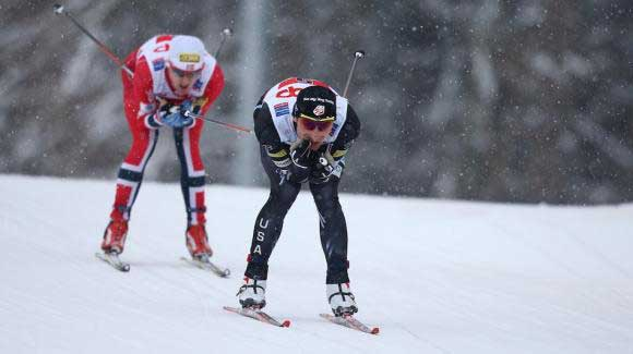 U.S. Nordic Combined Ski Team's Taylor Fletcher posted the fastest time in his cross country anchor leg and moved up the pack to give the USA seventh in the 4x5k team event at the nordic combined World Cup season opener. Here's Taylor at World Championships. (Getty Images/AFP/Pierre Teyssot)