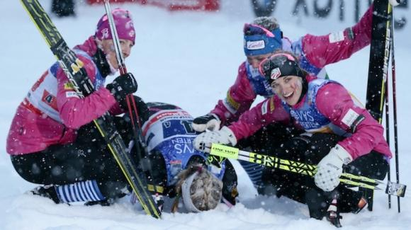 World Champion Jessie Diggins anchored a strong U.S. team made up of Kikkan Randall, Sadie Bjornsen and Liz Stephen to take third in the 4x5k relay and match the best-ever World Cup result for any U.S. cross country relay team. (Getty Images/AFP/Haakon Mosvold Larsen)