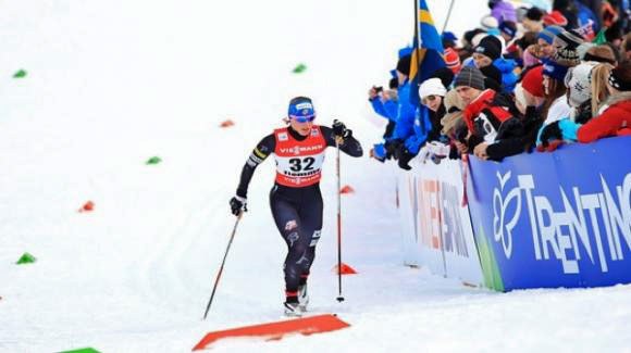 Kikkan Randall finished fifth in the women's classic sprint, keeping up with the fast heat and crushing the brutal uphill finish in Drammen, Norway on Wednesday. Here she is sprinting at World Champs. (Sarah Brunson/U.S. Ski Team)