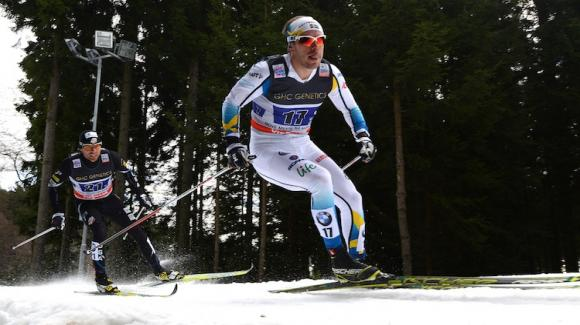 Andy Newell chases Emil Joensson of team Sweden 2. Newell and Simi Hamilton went on to finish fifth in the team sprints Sunday in Nove Mesto, Czech Republic. (Getty Images/AFP/Michal Cizek)