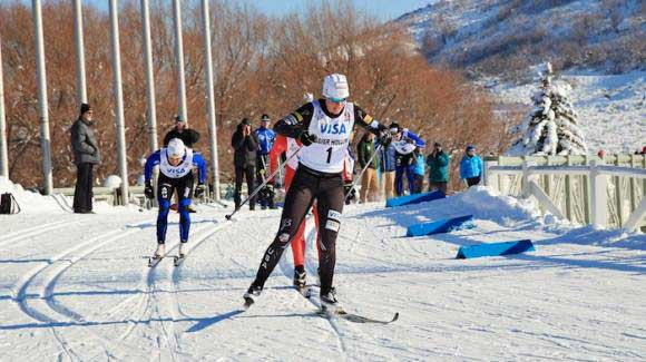 Noah Hoffman and Sadie Bjornsen (seen here at 2013 U.S. Championships in Utah) both capped their respective seasons Friday with U.S. distance titles to wrap up the 2014 U.S. Cross Country Championships. (Sarah Brunson/U.S. Ski Team)