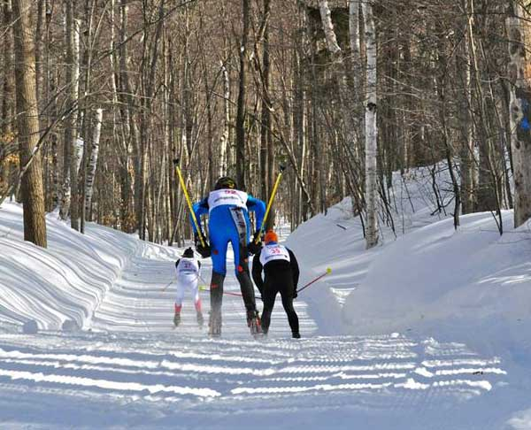 Down a fast hill at the Black Mountain Freestyle cross country ski race