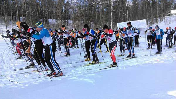 The start of the Black Mountain 31K classic cross country ski race