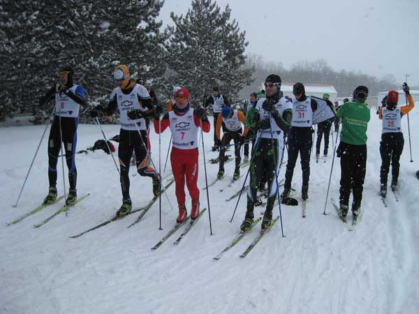 Cross Country Ski racers gathering for the start of the Boyne Grinder