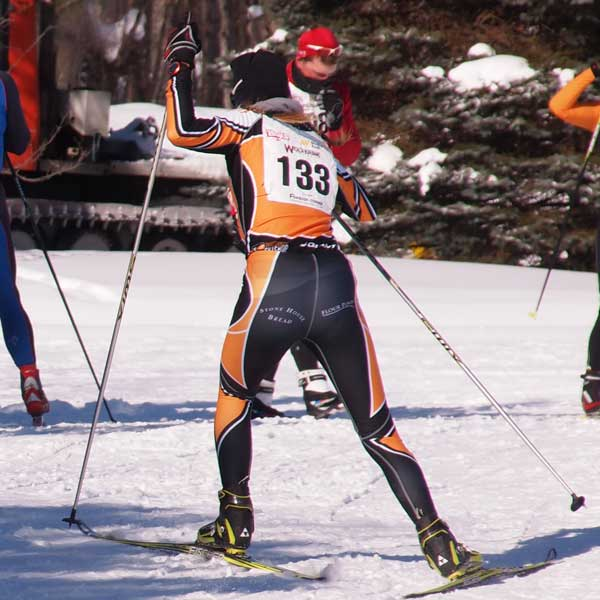 Kaitlin Patterson wins the Forbush Corner 17K cross country ski race