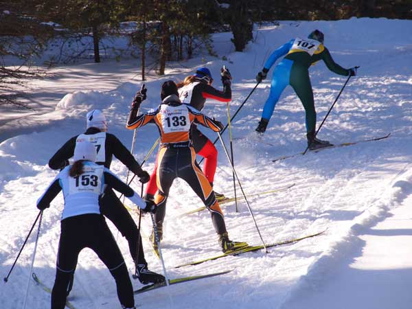 Lead pack at the Forbush Corner 17K Freestyle cross country ski race
