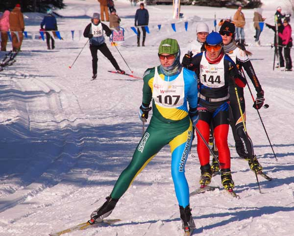 Lead women at the Forbush Corner 17k Freestyle cross country ski race