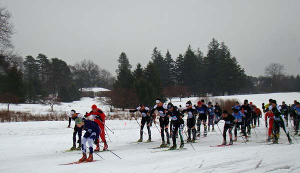 Start of the men's 15K skate at the Frosty Freestyle cross country ski race